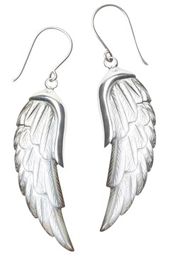 Mother Of Pearl Wing Earrings - silver