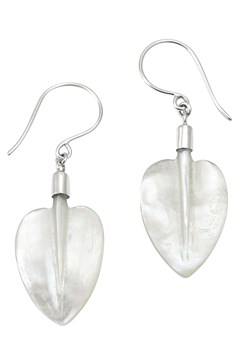 Mother Of Pearl Pohutukawa Leaf Earrings PEARL 1