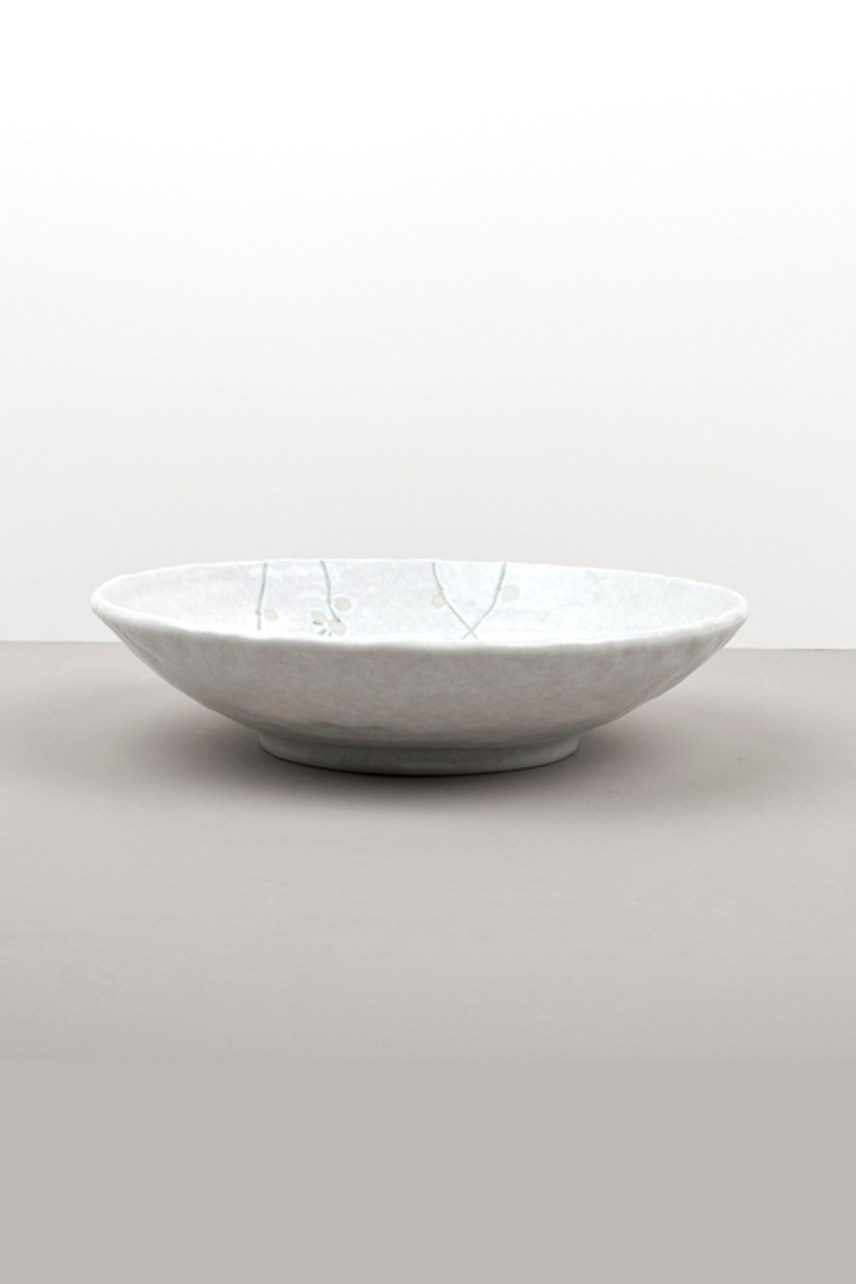 White Blossom Shallow Bowl - Large