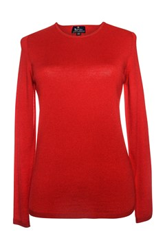 Long Sleeve Classic Crew Neck Jumper - red