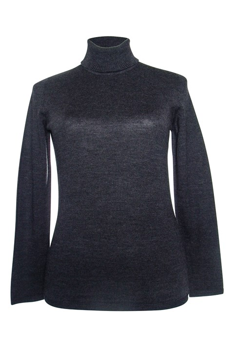 Long Sleeve Classic Polo Neck Jumper - charcoal