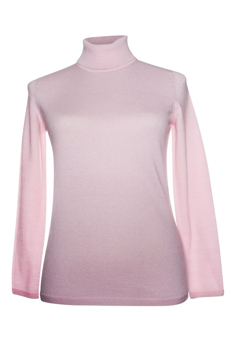 Long Sleeve Classic Polo Neck Jumper - cherry blossom