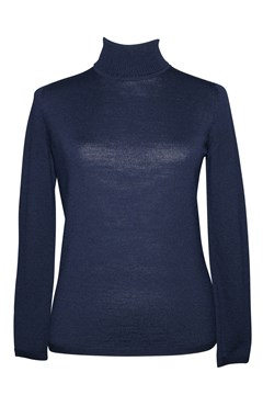 Long Sleeve Classic Polo Neck Jumper - light navy