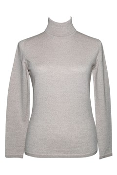 Long Sleeve Classic Polo Neck Jumper - light sand