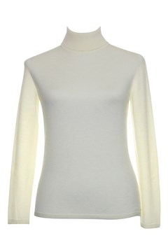 Long Sleeve Classic Polo Neck Jumper - natural