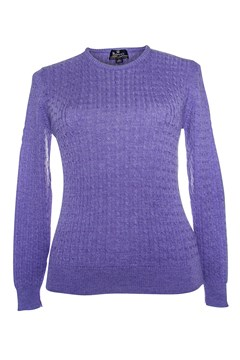 Long Sleeve Cable Crew Neck Jumper - amethyst