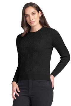 Rib And Cable Crew BLACK 1