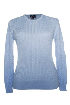 Long Sleeve Cable Crew Neck Jumper - cool blue