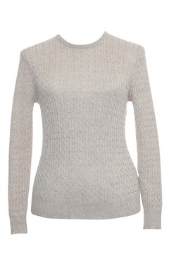 Long Sleeve Cable Crew Neck Jumper - light sand