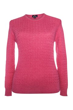 Long Sleeve Cable Crew Neck Jumper - light fuchsia