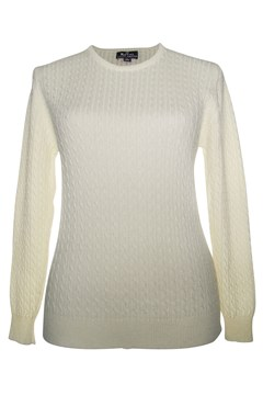 Long Sleeve Cable Crew Neck Jumper - natural
