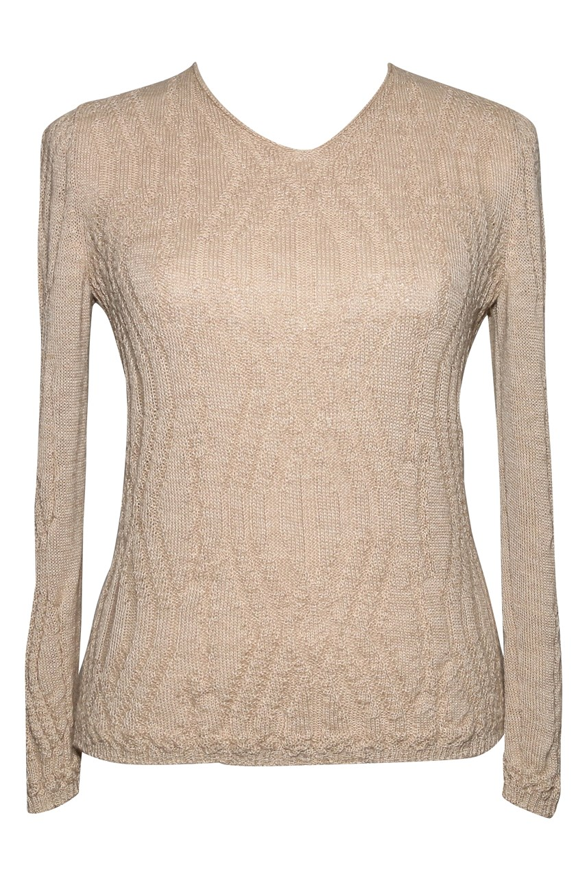 Long Sleeve Wavy Pattern V-Neck Jumper