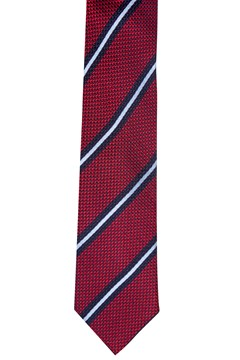 Diagonal Stripe Silk Tie - red