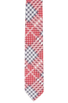 Houndstooth Tartan Tie RED MULTI PRINT 1