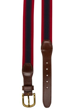 Stretch Leather Tab Belt 500 RED 1