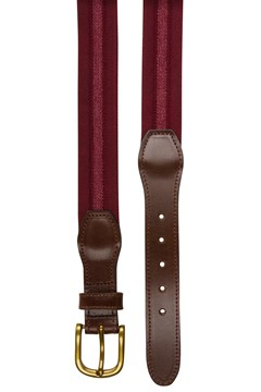 Stretch Leather Tab Belt 501 BURG 1