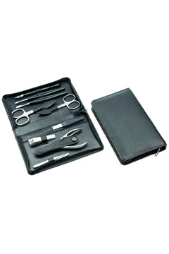German Leather Manicure Set BLACK 1