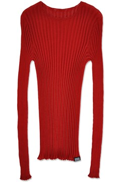 Merino Tulle Crew Neck Top RED 1