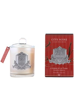 Gourmandise Silver Scented Candle - Cognac & Tobacco 1