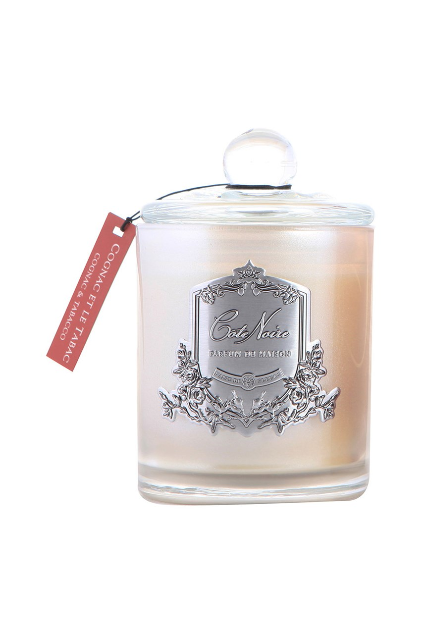 Gourmandise Silver Scented Candle - Cognac & Tobacco