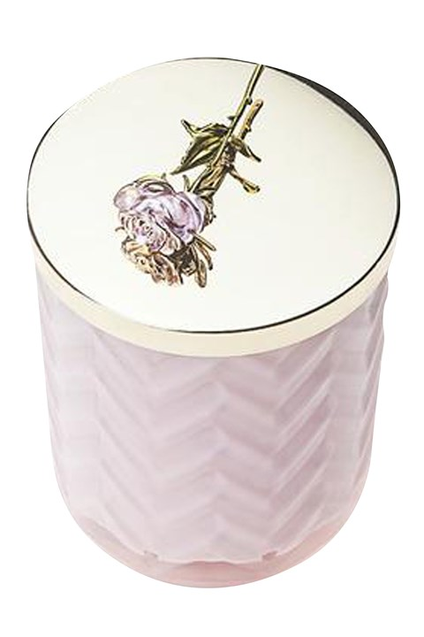 Pink Herringbone Candle With Scarf - pink