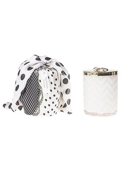 White Herrigbone Candle With Scarf WHITE 1