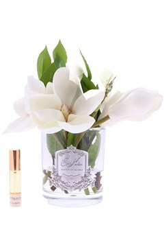 Ivory Magnolias in Clear Glass IVORY WHITE 1