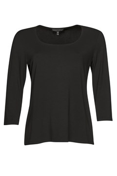 Easy Fit 3/4 Sleeve U Shape Neck Top BLACK 1
