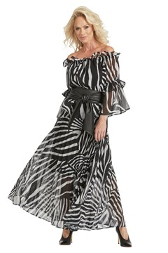 Sunray Pleated Long Skirt - zebra chifon