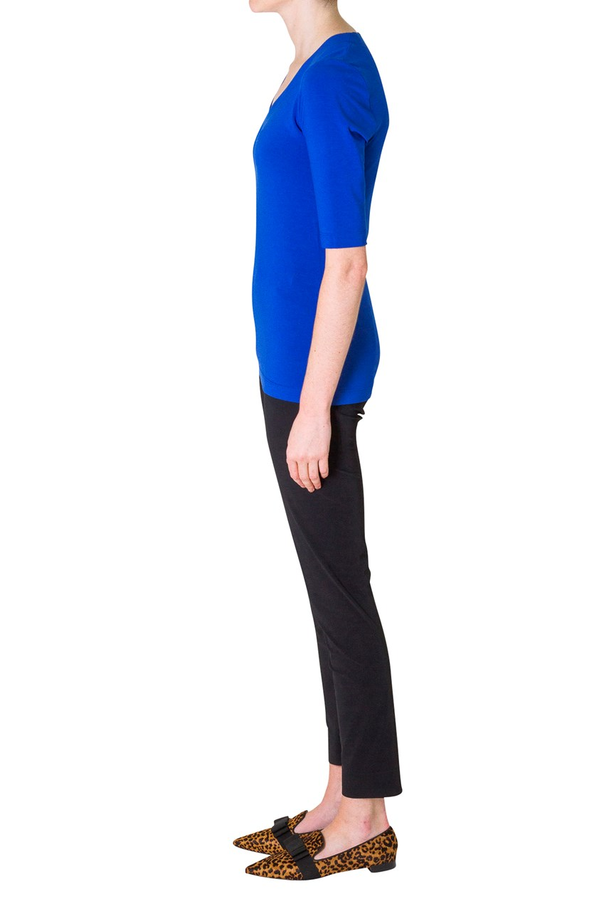Slim Fit Half Sleeve V-Neck Top