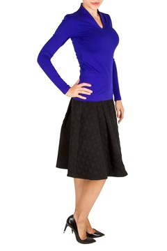 Slim Fit Long Sleeve High Neck Top - ultramarine blue