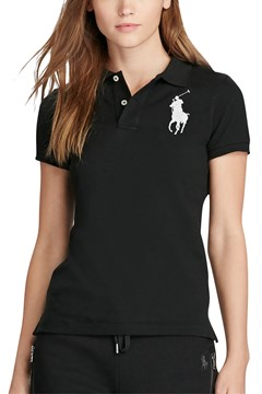 Skinny Fit Big Pony Polo Shirt BLACK 1