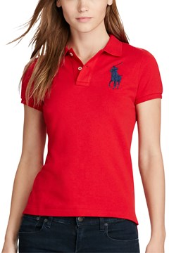Skinny Fit Big Pony Polo Shirt RED 1