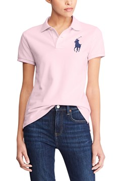 Skinny Fit Big Pony Polo Shirt PINK 1