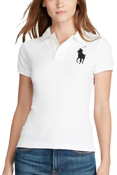 Skinny Fit Big Pony Polo Shirt WHITE 1