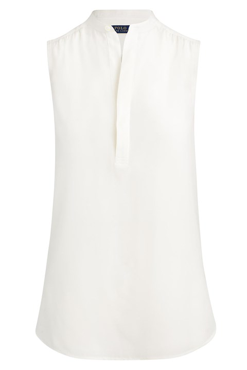 Sleeveless Silk Shirt - cream