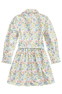 Floral Belted Shirtdress - white