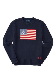Flag Cotton Sweater HUNTER NAVY 1
