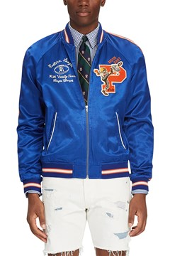 Satin Souvenir Baseball Jacket SISTINE BLUE 1