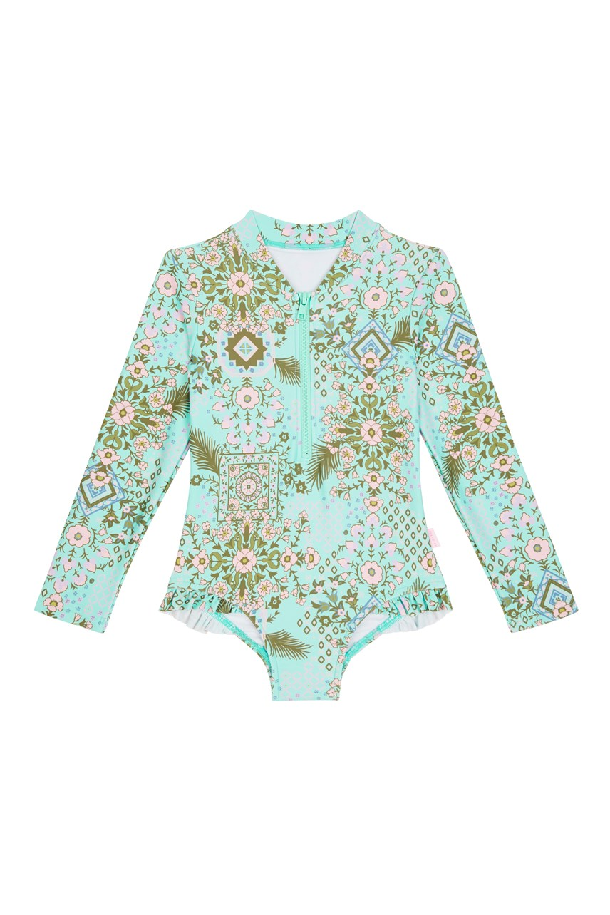 Folk Floral Long Sleeve Surf Swimsuit