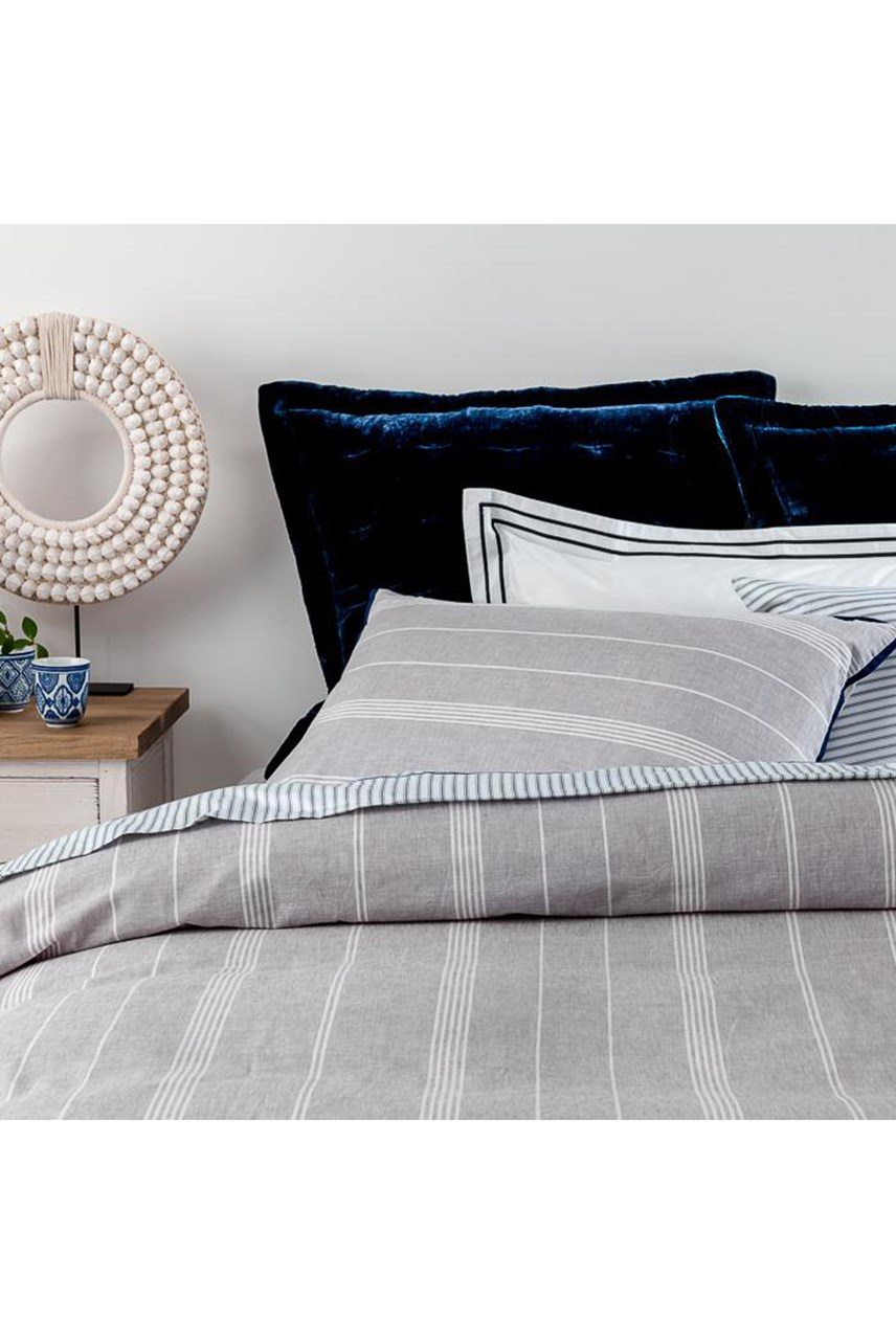 Lake House Stripe Ink Duvet Set