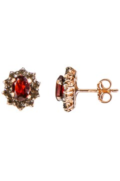 Garnet & Crystal Stud Earrings GARNET 1