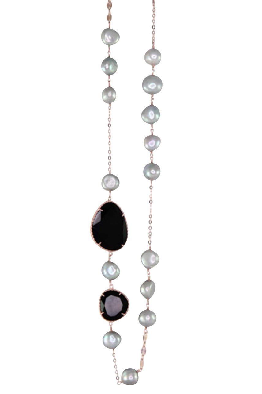 Silver Pearl & Black Agate Necklace