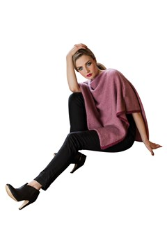 Two-Tone Poncho - red