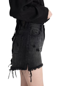 Mini High Waist Denim Skirt - volcanic