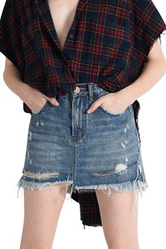 Mini High Waist Denim Skirt - jhnny blue