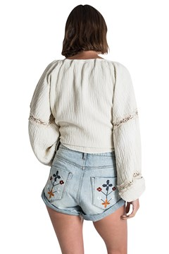 Woodstock Embroidered High Waist Shorts - sunblch blue