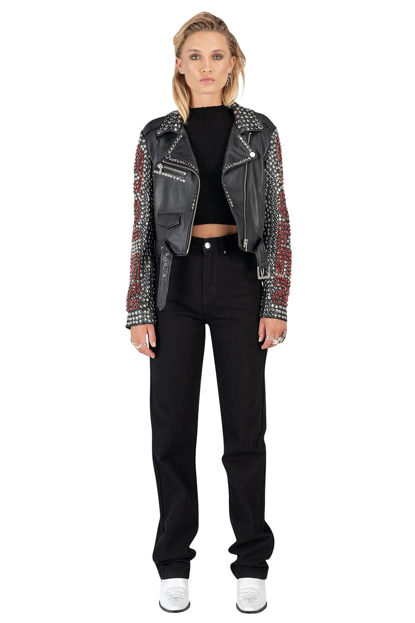 Rhinestone Leather Biker Jacket