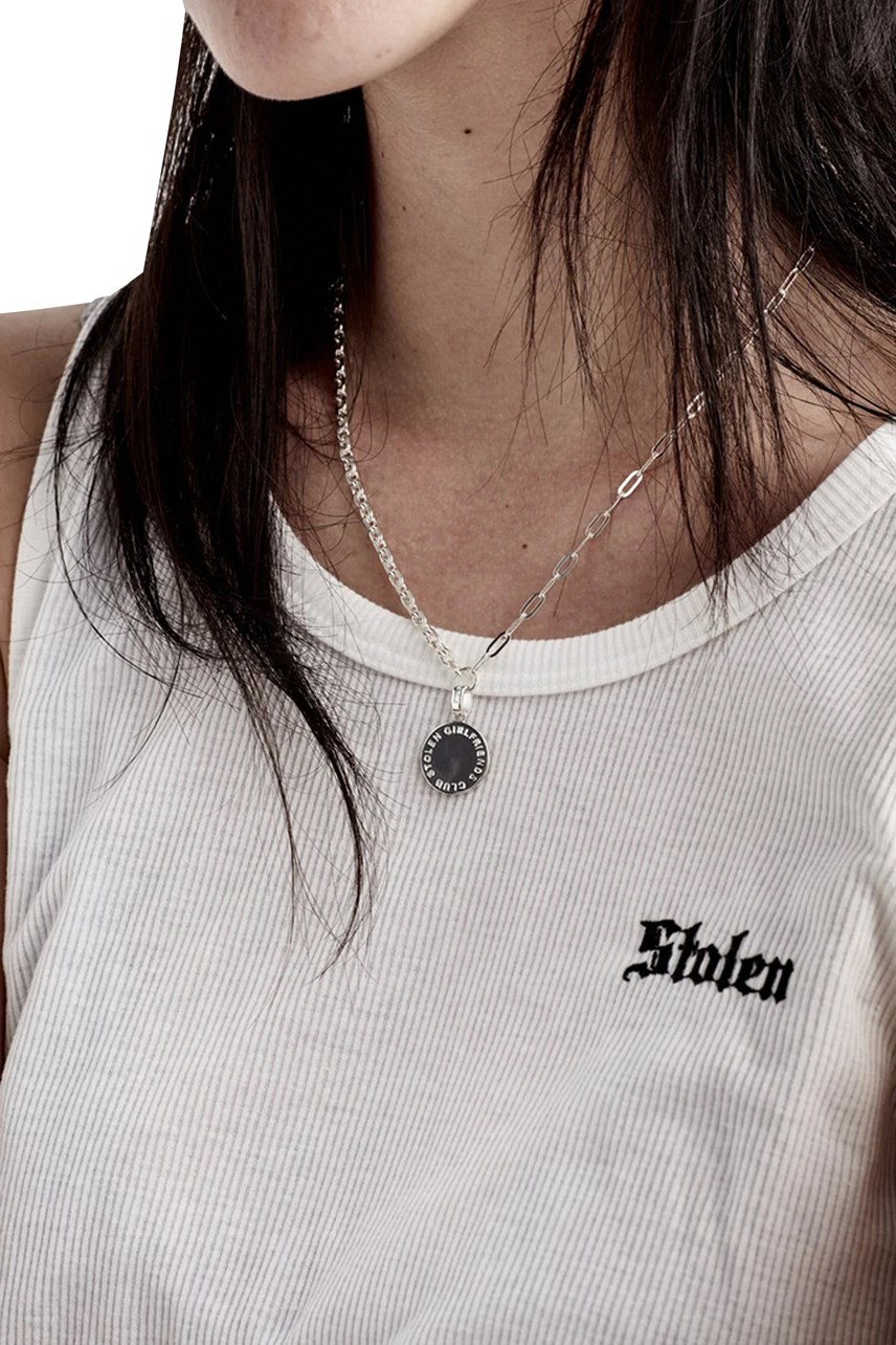 Text Logo Skewed Necklace