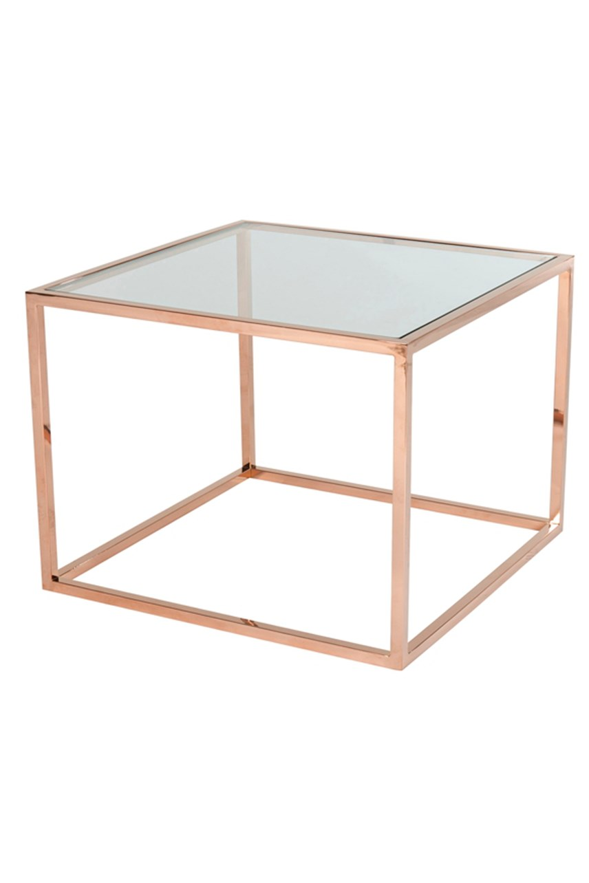 Elle Cube Glass Side Table